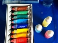 acrylic paint and dropper bottles